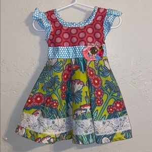 Giggle Moon • Floral & Lace Print Dress (24M)